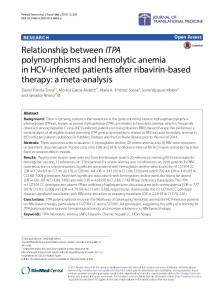 Relationship between ITPA polymorphisms and hemolytic ... - Core