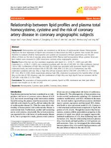 Relationship between lipid profiles and plasma total homocysteine ...