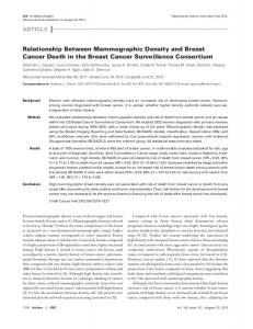 relationship Between Mammographic Density and ... - Oxford Academic