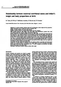 Relationship between maternal nutritional status and infant's weight ...