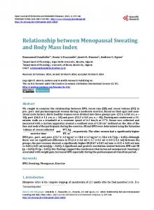 Relationship between Menopausal Sweating and ...