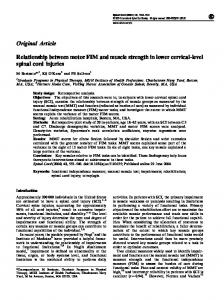Relationship between motor FIM and muscle strength in lower cervical ...