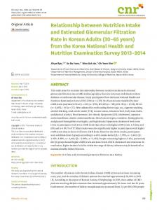 Relationship between Nutrition Intake and ... - KoreaMed Synapse