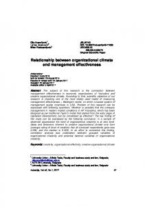Relationship between organizational climate and ... - CEON-a