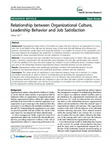 Relationship between Organizational Culture ... - BioMedSearch