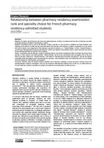 Relationship between pharmacy residency ... - Pharmacy Practice