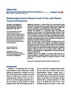 Relationship between Plasma Levels of Zinc and Clinical Course of