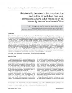 Relationship between pulmonary function and indoor air pollution from ...