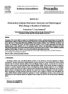 Relationship between Resilience, Optimism and Psychological Well ...