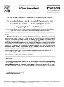 Relationship between size-fractionated Chlorophyll a and ...