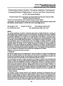 Relationship between Students' Perception toward the Teaching ... - Eric