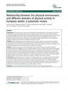 Relationship between the physical environment and ... - BioMedSearch