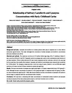Relationship of Salivary Lactoferrin and Lysozyme Concentrations
