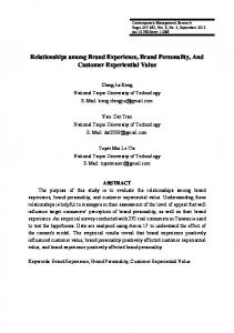 Relationships among Brand Experience, Brand Personality, And