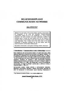 RELATIONSHIPS AND COMMUNICATION NETWORKS
