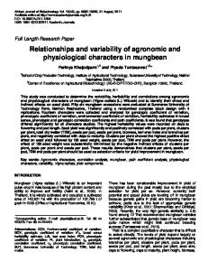 Relationships and variability of agronomic and physiological ...