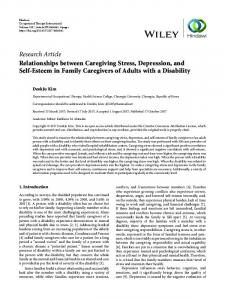 Relationships between Caregiving Stress, Depression, and Self ...