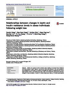 Relationships between changes in leptin and insulin resistance levels ...