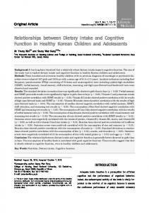 Relationships between Dietary Intake and ... - Semantic Scholar