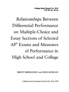 relationships between differential performance ... - Wiley Online Library