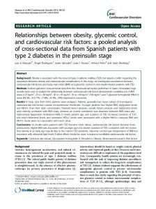 Relationships between obesity, glycemic control, and cardiovascular ...