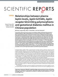 Relationships between plasma leptin levels, leptinG2548A, leptin ...