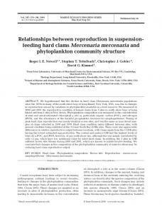 Relationships between reproduction in suspension-feeding hard