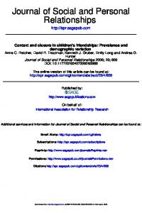 Relationships Journal of Social and Personal - CiteSeerX
