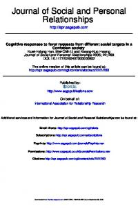 Relationships Journal of Social and Personal