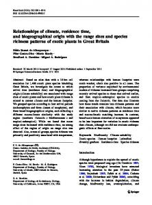 Relationships of climate, residence time, and biogeographical ... - UAH