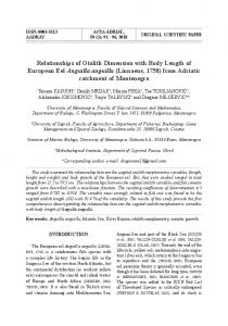 Relationships of Otolith Dimension with Body Length of European Eel