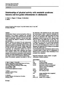Relationships of physical activity with metabolic syndrome features ...