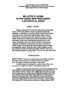 Relative Clauses in the Greek New Testament - Gordon College ...