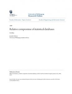 Relative compromise of statistical databases - Semantic Scholar