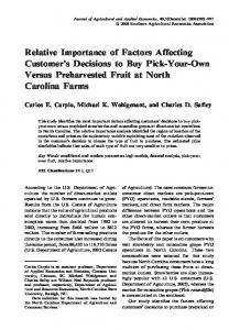 Relative Importance of Factors Affecting Customer's ... - AgEcon Search