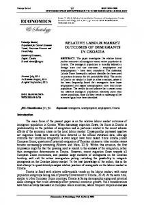 relative labour market outcomes of immigrants in croatia