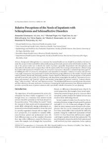 Relative Perceptions of the Needs of Inpatients with ...