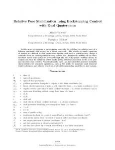 Relative Pose Stabilization using Backstepping Control with ... - DCSL
