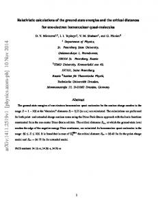 Relativistic calculations of the ground state energies and the critical ...