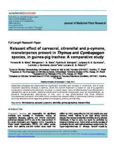 Relaxant effect of carvacrol, citronellal and p-cymene ...