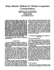 Relay Selection Methods for Wireless Cooperative Communications
