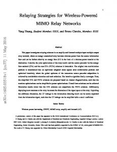 Relaying Strategies for Wireless-Powered MIMO Relay Networks - arXiv
