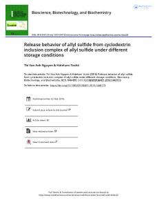 Release behavior of allyl sulfide from cyclodextrin ...