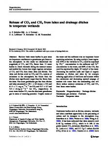 Release of CO2 and CH4 from lakes and drainage
