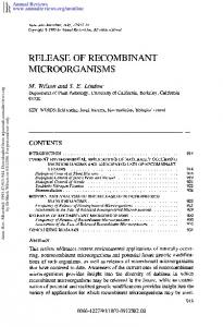 Release of Recombinant Microorganisms