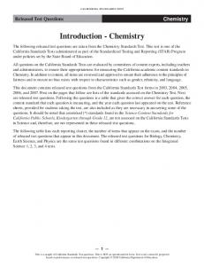 Released Test Questions Chemistry