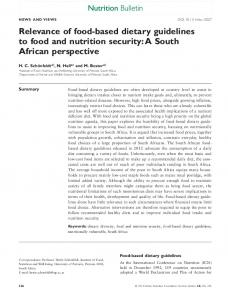 Relevance of foodbased dietary guidelines to food and nutrition security