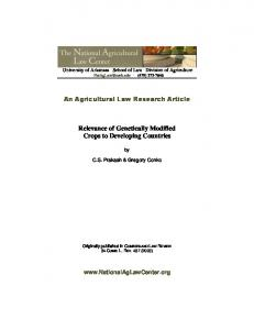 Relevance of Genetically Modified Crops to ...