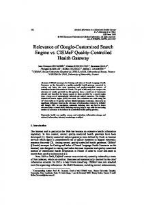 Relevance of Google-Customized Search Engine vs ...
