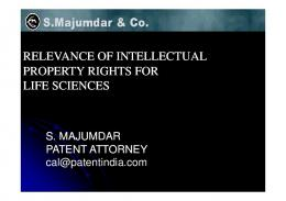 RELEVANCE OF INTELLECTUAL PROPERTY RIGHTS FOR LIFE ...